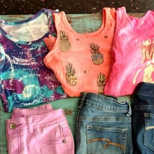 Justice Bottoms - Girls Summer Justice Clothing bundle lot 10/12